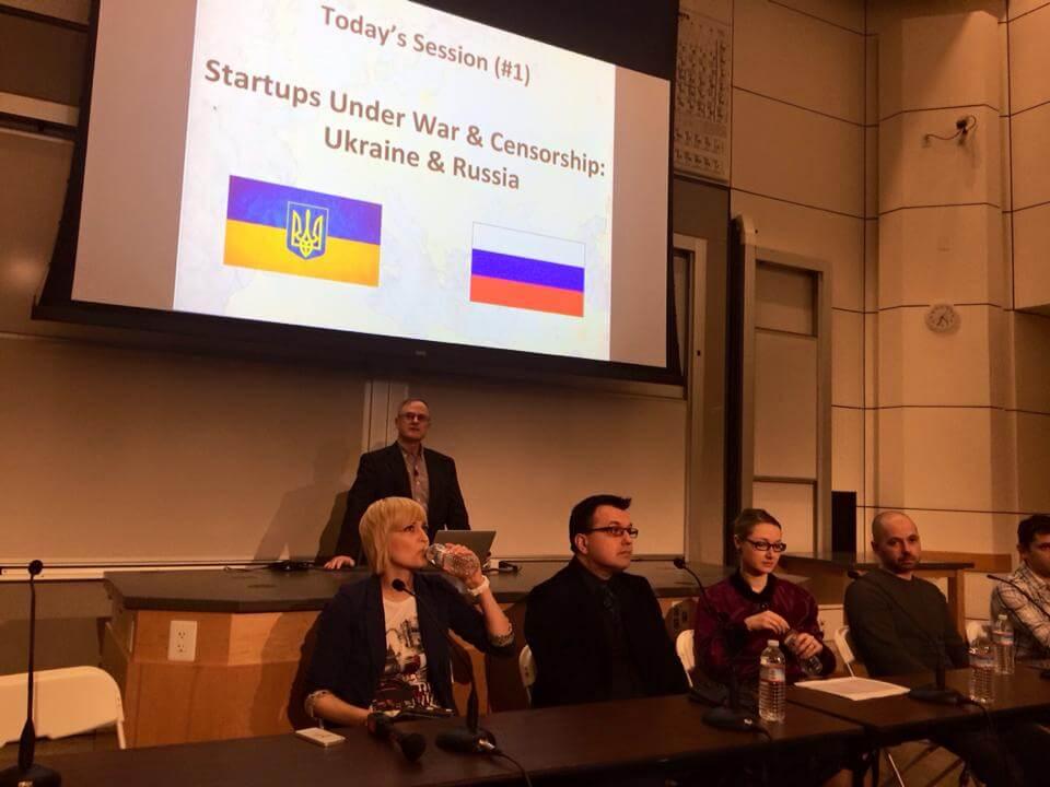 Макс Скибинский обсуждает проблемы российских и украинских стартапов в Стэнфорде.  Фото с Facebook  Кати Федосеевой