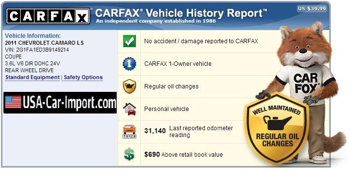 Пример части отчета Карфакс - практически идеальный автомобиль. Фото: usa-car-import.com
