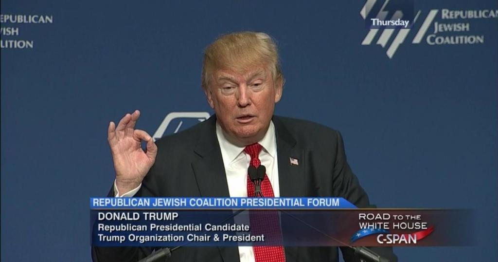 Дональд Трамп выступает на съезде еврейских активистов Республиканской партии. Фото: стоп-кадр с телеэкрана.