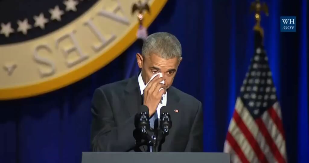 Барак Обама во время прощального выступления 10 января 2017 года. Фото: кадр видео