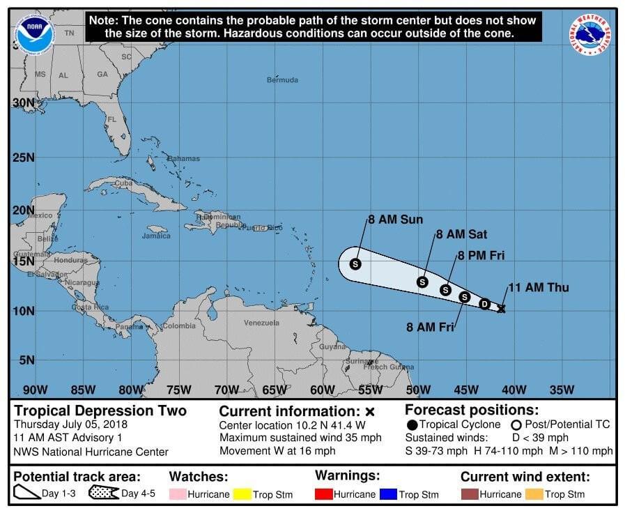 Шторм «Берил» вАтлантике усилился доурагана иможет затронуть Пуэрто-Рико