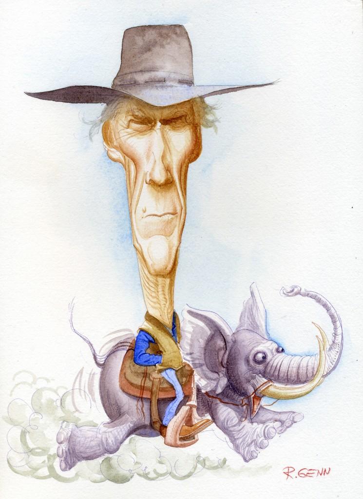 Карикатура на голливудского актера и режиссера Клинта Иствуда