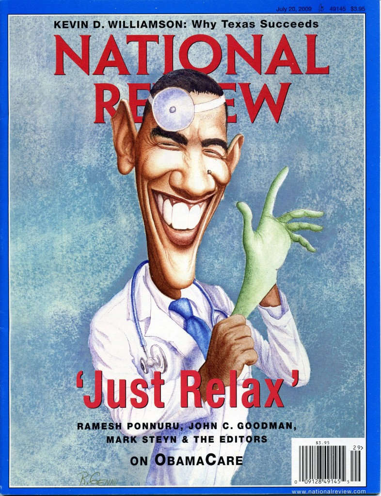 Скандальная обложка National Review с карикатурой на Барака Обаму авторства Романа Генна