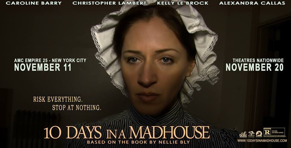 """Постер к фильму """"Десять дней в сумасшедшем доме"""" с Александрой Каллас."""