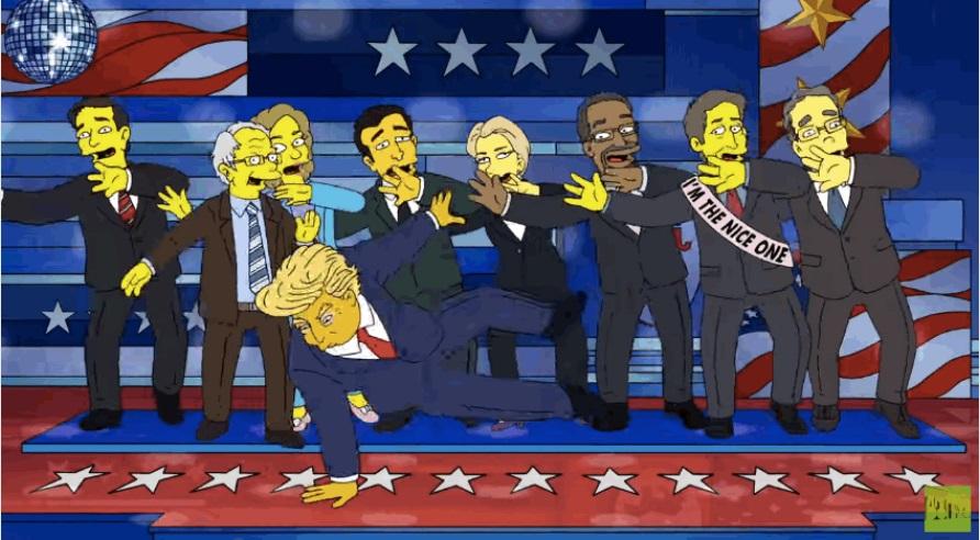 """Кандидаты от Республиканской партии появились в ролике """"Симпсонов"""". Фото: кадр видео"""