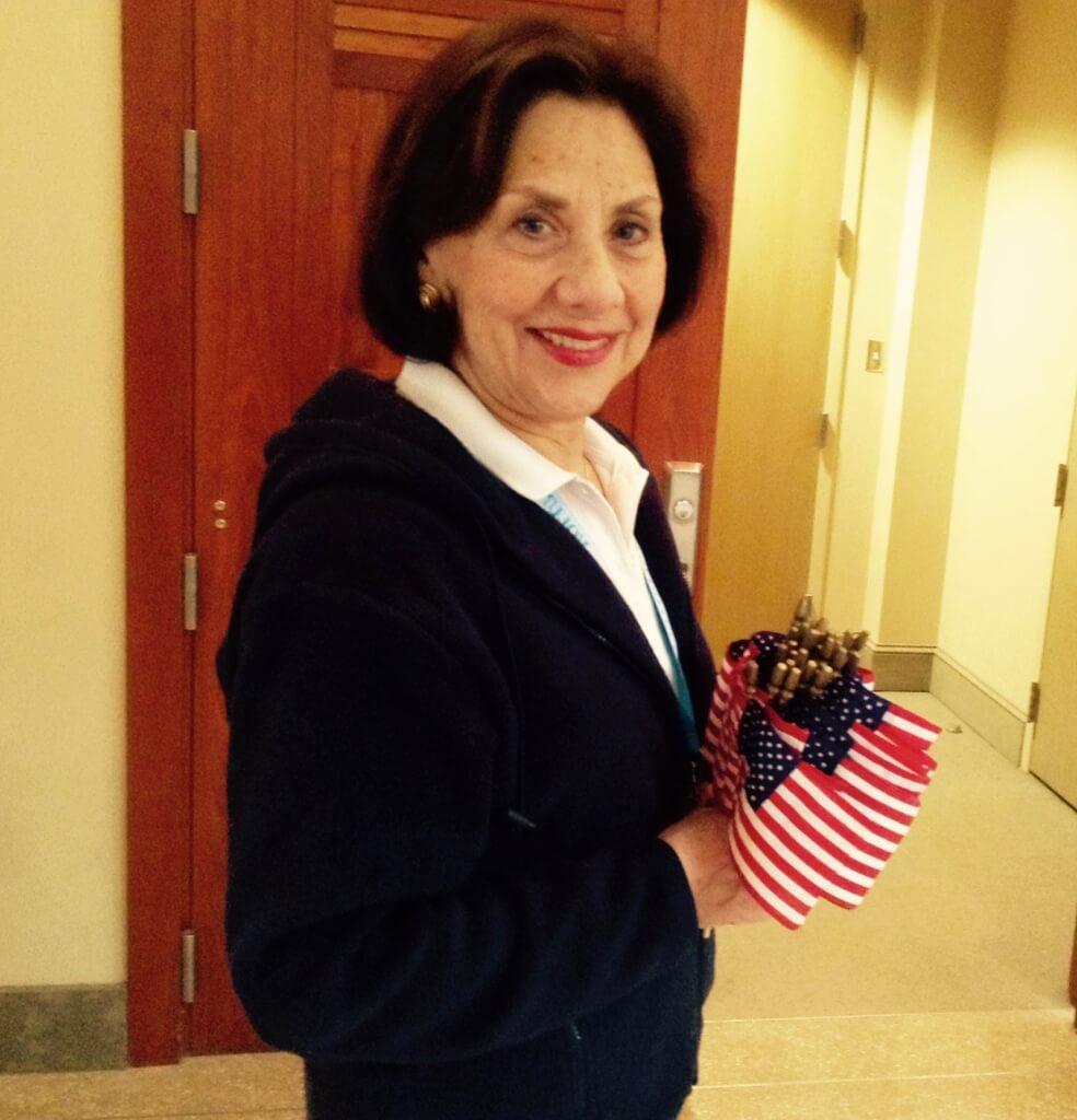 У входа в зал каждому раздавали американские флажки. Фото: Леся Бакалец
