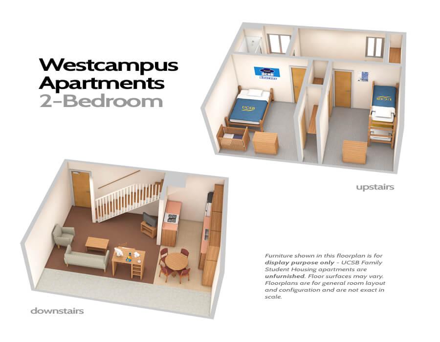 Типичная планировка двухэтажной квартиры в общежитии. Фото www.housing.ucsb.edu
