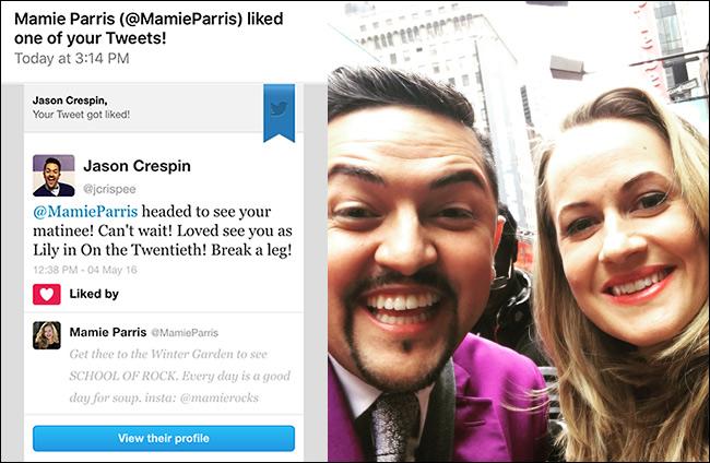 Джейсон говорит, что любезный твит может сделать многое – например, помочь получить фото с Мэйми Перрис. Фото: Джейсон Креспин