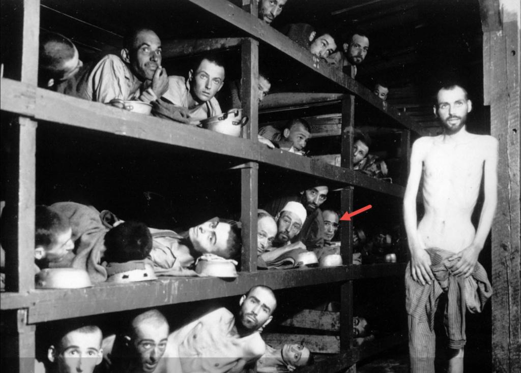 Узники концлагеря Бухенвальд, после освобождения армией США 16 апреля 1945 года. Эли Визель указан стрелкой. Фото: US Army photos.