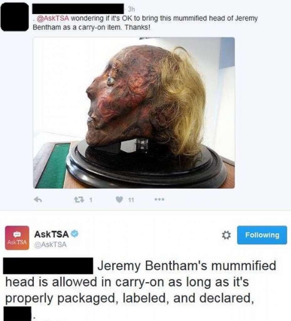Провозить мумию в самолёте разрешено, если груз правильно упакован. Фото: instagram.com/tsa/