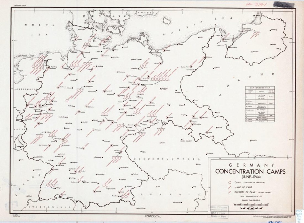 1944 год. Карта концентрационных лагерей на территории нацистской Германии. Фото: ЦРУ