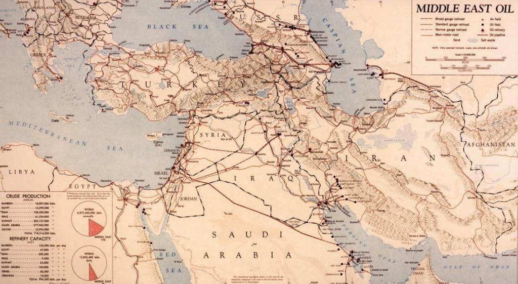 1951 год. Карта основных нефтяных месторождений и коммуникаций Ближнего Востока. Фото: ЦРУ