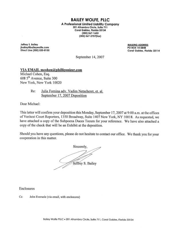 Письма, отправленные Коэну адвокатами. Фото: Юрий Фельштинский