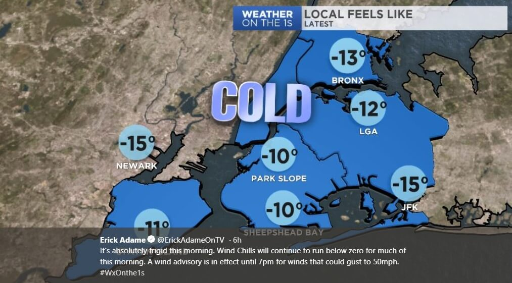 In New York, January 21 will be the coldest day of the year 2019